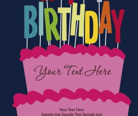 Cartoon Happy birthday postcard vector 03
