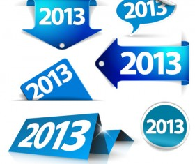 Blue 2013 Label and Stickers vector