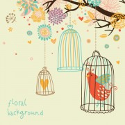 Link toHand drawn flowers and birds background vector 01