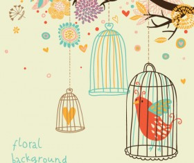 Hand drawn Flowers and birds background vector 01