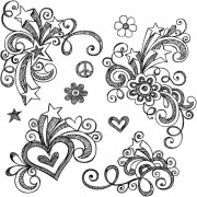 Link toHand drawn floral decor design vector set 01