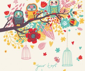 Hand drawn Flowers and birds background vector 02