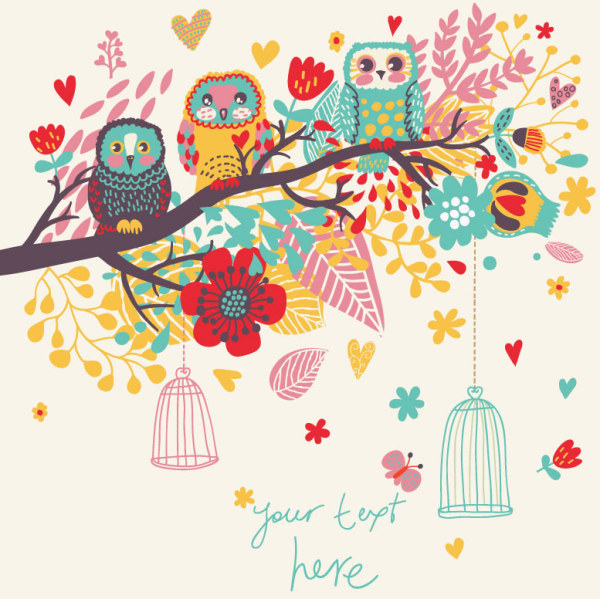 Hand Drawn Flowers And Birds Background Vector 02 Free Download