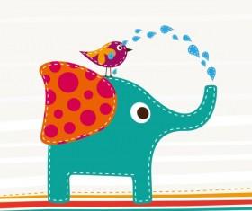 Cartoon Birds and elephants vector