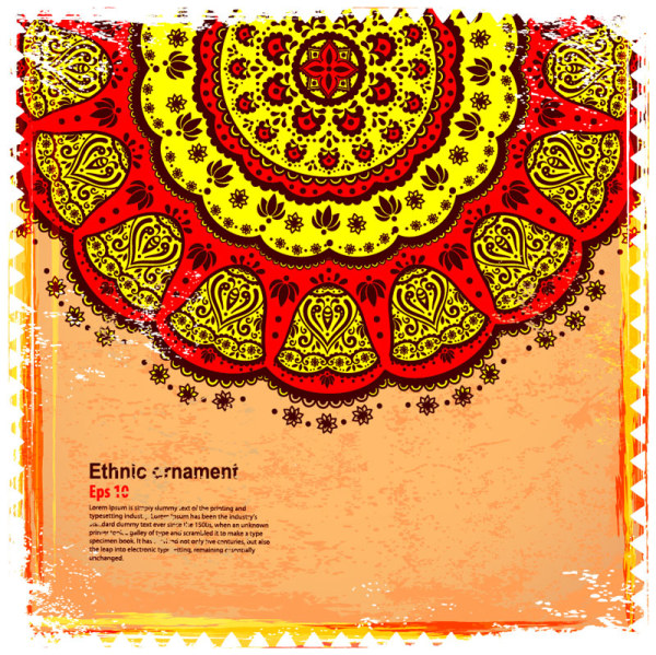 indian style floral ornament vector graphics 01 vector