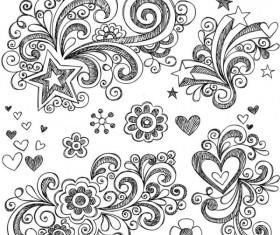Hand drawn floral decor design vector set 02