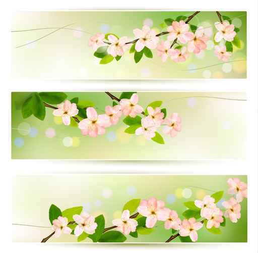 Spring Pink flowers banner vector 01