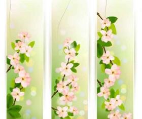 Spring Pink flowers banner vector 02