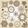 Vintage floral accessories and Borders vector 01