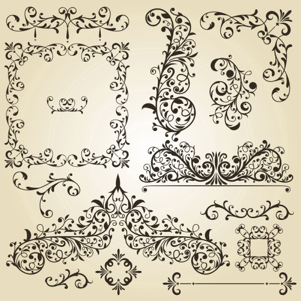 Vintage Floral Accessories And Borders Vector 03