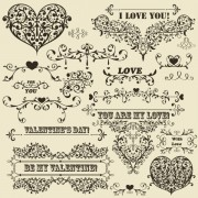 Link toVintage floral accessories and borders vector 04