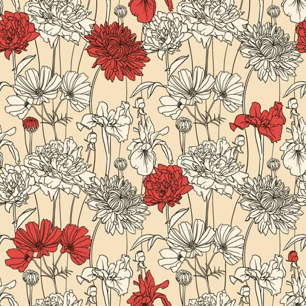 Hand drawn flower pattern art vector 01