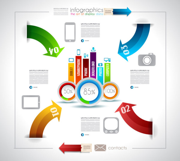 Infographics with data design vector 04