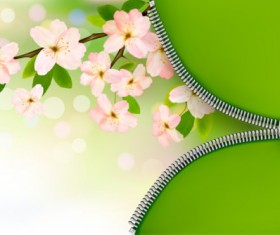Zipper with Flower design vector