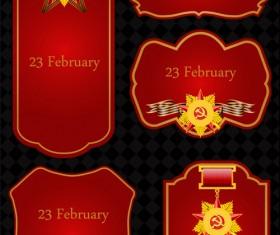 23 February design elements vector set 01