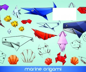 Cute Animal Origami elements vector 01