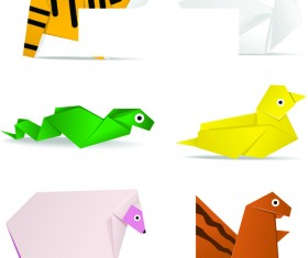 Cute Animal Origami elements vector 02