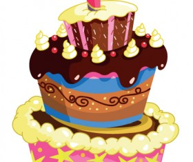 Set of Birthday cake vector material 02