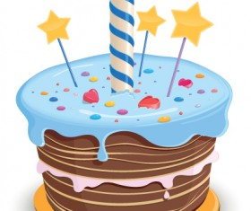 Set of Birthday cake vector material 04