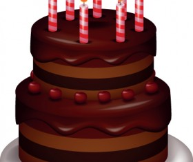 Set of Birthday cake vector material 05