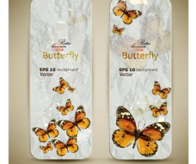 Retro Butterfly invitation cards vector 01