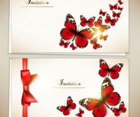 Retro Butterfly invitation cards vector 02