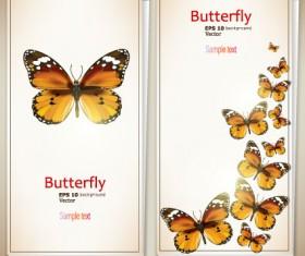 Retro Butterfly invitation cards vector 03