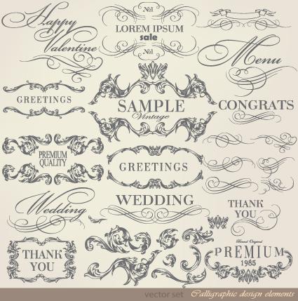 Retro Calligraphy Design Elements Vector Graphic 02