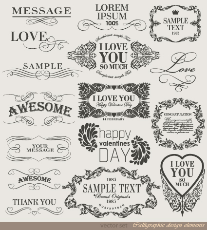 Retro Calligraphy Design Elements Vector Graphic 03