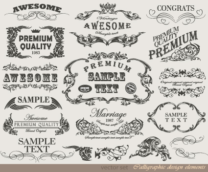 Retro Calligraphy Design Elements Vector Graphic 04