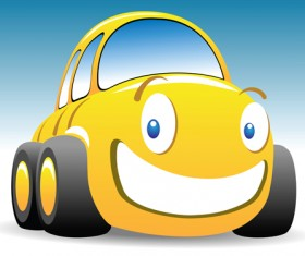 Funny Color Cartoon cars vector 05