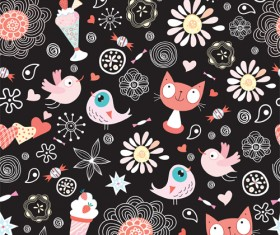 Funny Cat pattern vector 02