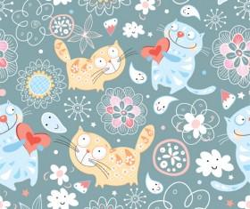 Funny Cat pattern vector 03