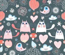 Funny Cat pattern vector 04