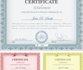 Commonly Certificate cover vector template 04