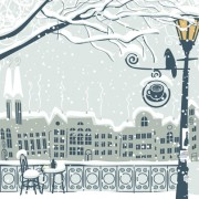 Link toCity in the snow vector background 03