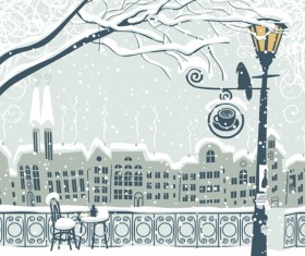 City in the snow vector background 03