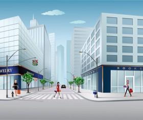 Cartoon City scenes elements vector graphics 02