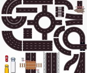 Cartoon City scenes elements vector graphics 03