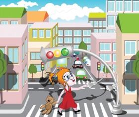Cartoon City scenes elements vector graphics 05