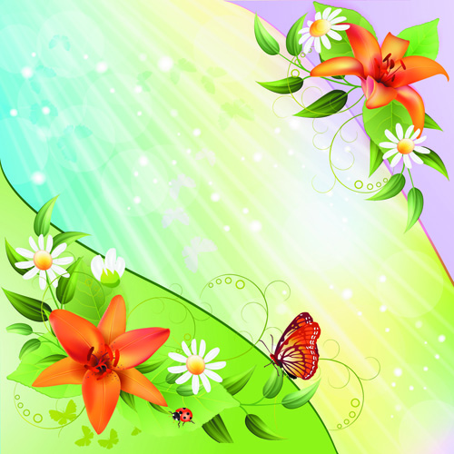 Vector Of Color Spring Flower Backgrounds 03 Free Download