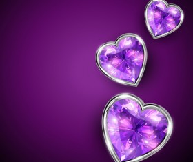 Diamond hearts vector graphic
