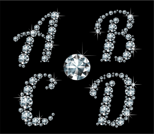 Shiny Diamond letters vector material 01 - Vector Font free download