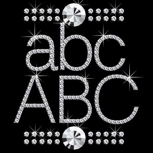 Shiny Diamond letters vector material 05 - Vector Font free download