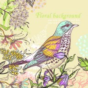 Link toHand drawn floral backgrounds with birds vector 06