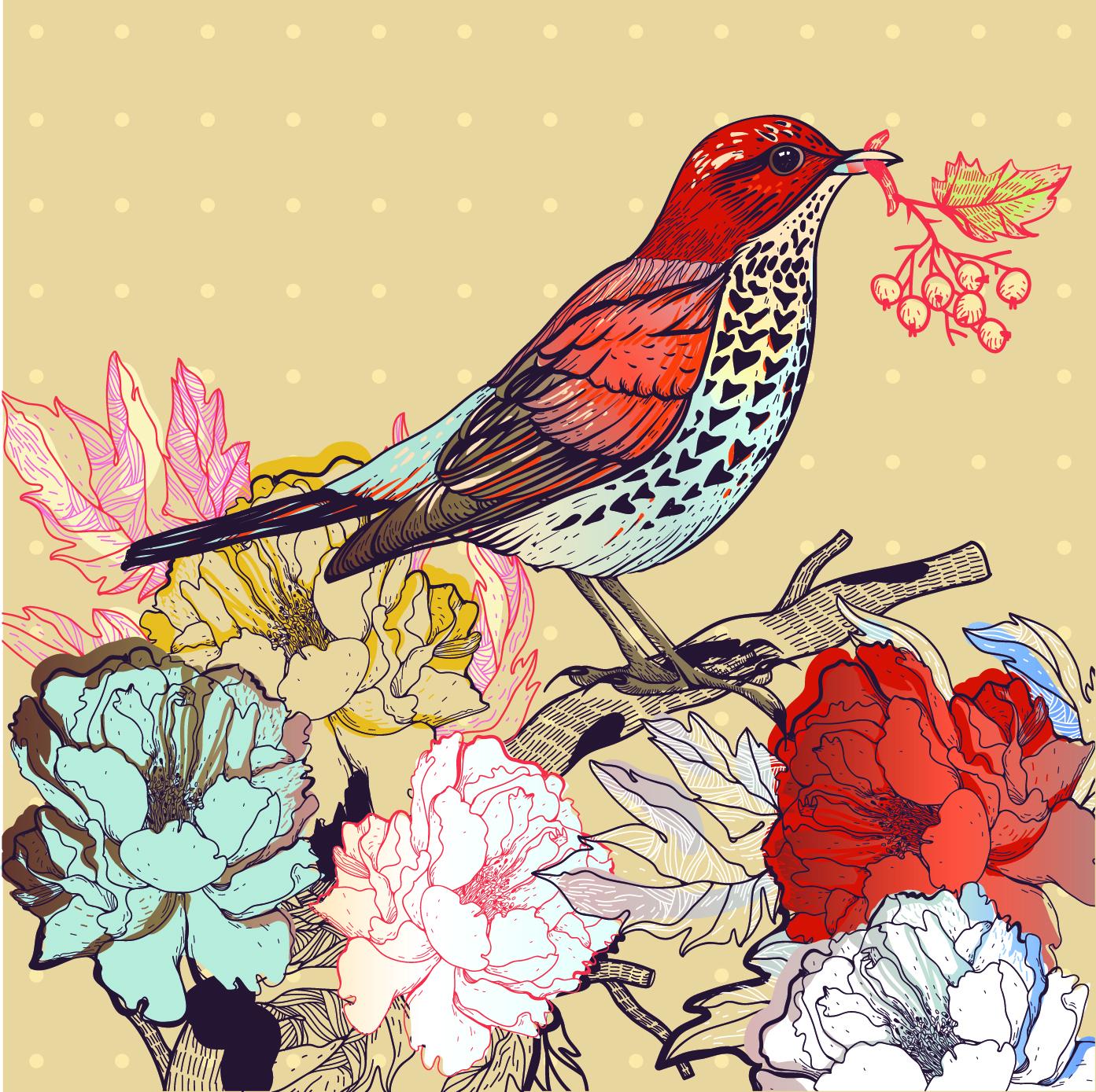 Vintage bird vector free download - photo#4
