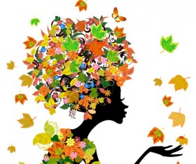 Set of Floral season girls vector graphic 01