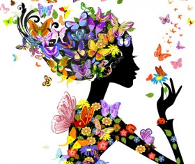 Set of Floral season girls vector graphic 02