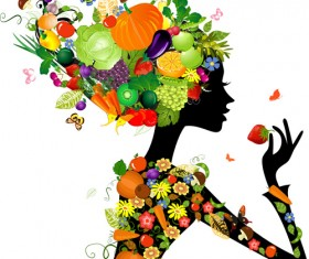 Set of Floral season girls vector graphic 04