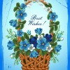 Flower Baskets wishes card vector